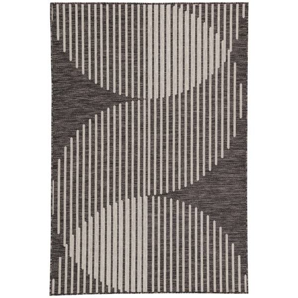 "Nikki Chu Tangra Geometric Dark Gray/ Silver Indoor/Outdoor Area Rug (7'11 x 10') - 7'11""x10'"