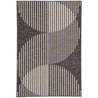 Nikki Chu Tangra Geometric Dark Gray/ Silver Indoor/Outdoor Area Rug (7'11 x 10')