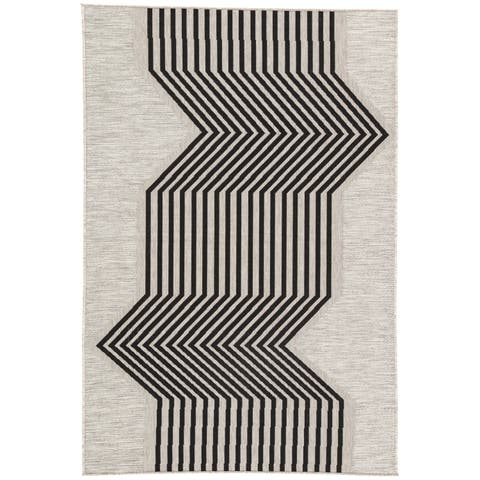 "Nikki Chu Minya Silver/Black Geometric Indoor/Outdoor Geometric Area Rug (7'11 x 10') - 7'11"" x 10'"