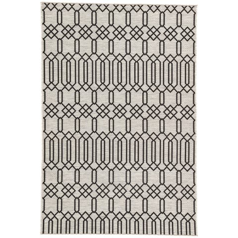 "Nikki Chu Calcutta Grey/Black Outdoor Area Rug (7'11 x 10') - 7'11"" x 10'"