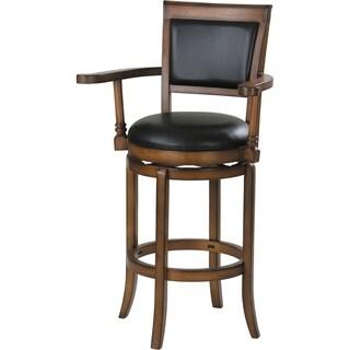 Benzara Chelsea Black and Oak Swivel Bar Chair