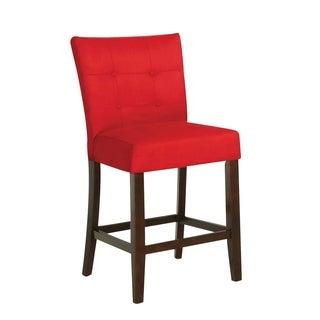 Benzara Baldwin Red/Walnut-finish Microfiber/Wood Counter-height Chair (Set of 2)