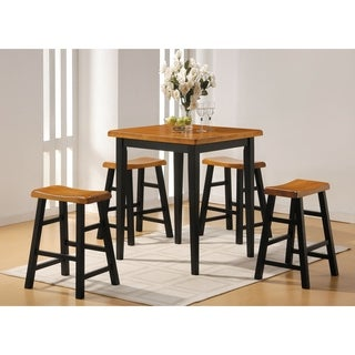 Gaucho 5 Piece Pack Counter Height Set, Oak & Black - oak & black