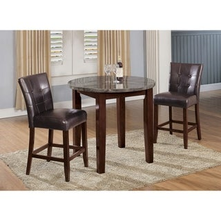 Benzara Danville Black Marble and Walnut Counter-height Table
