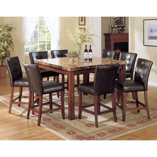 Benzara Bologna Brown Marble Top Cherry Finish Wood Counter Height Table