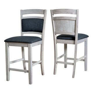 Bar and Counter Stool with Embossed Stone Back Panel (Set of 2)