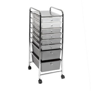 Seville Classics 8-Drawer Storage Bin Organizer Cart, White/Gray/Black