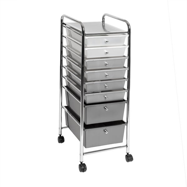 Seville Classics 8-Drawer Storage Bin Organizer Cart White/Gray/Black  sc 1 st  Overstock.com & Shop Seville Classics 8-Drawer Storage Bin Organizer Cart White ...