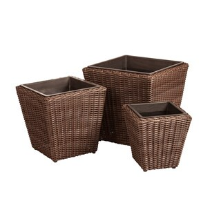 Piazza 3-Piece Wicker Planter Set