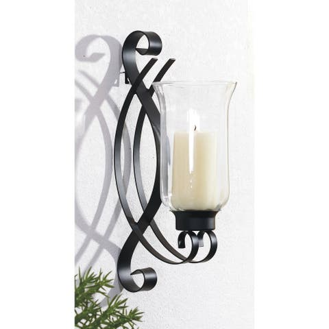 4.5x8x14 SWIRL, Metal with Glass Wall Sconce Black Modern Decorative Sconces for Bedroom Living room Wall Light