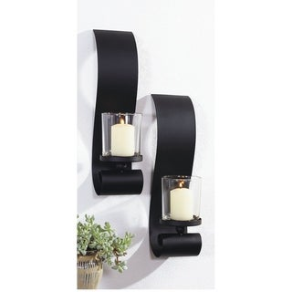 Link to 3.5x14 inch BOLD II, Metal with Glass Wall Sconce (Set of 2) Black Modern Decorative Sconces for Bedroom Living room Wall Light Similar Items in Glasses & Barware