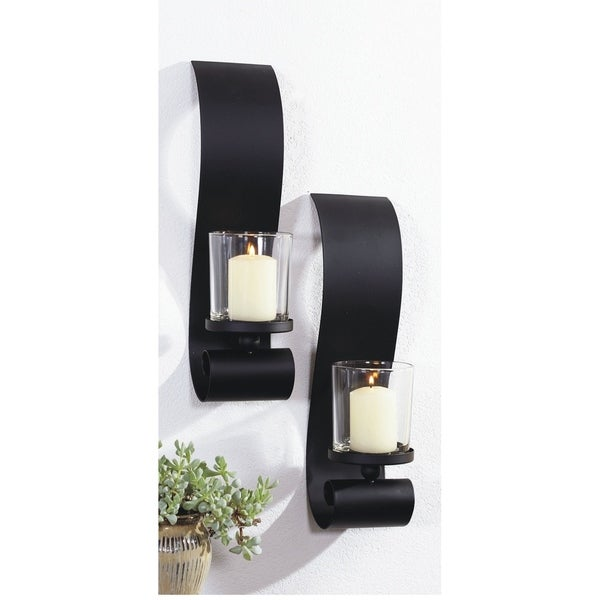 3.5x14 inch BOLD II, Metal with Glass Wall Sconce (Set of 2) Black Modern Decorative Sconces for Bedroom Living room Wall Light. Opens flyout.