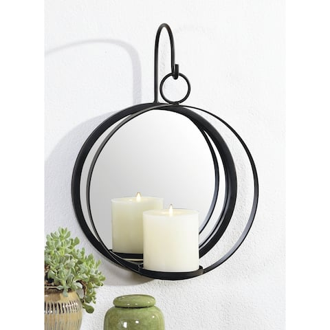 9x14 ORBIT, Metal Wall Sconce with Mirror