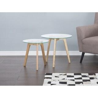 Beliani Missouri Natural Wood Glass Top 2-piece Round End Table Set