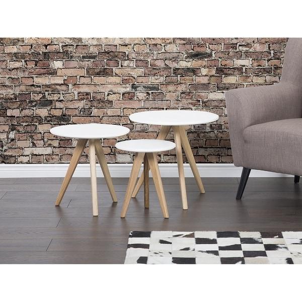 Beliani White Wood Round End Tables (Set of 3)