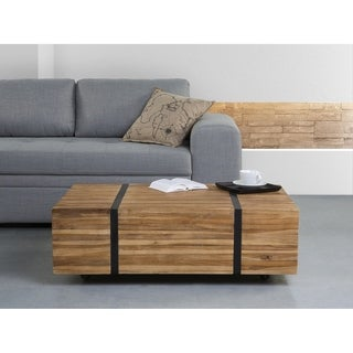 Beliani Gander Modern Eco-friendly Natural-finished Teak Wood and Metal Coffee Table With Hidden Caster Wheels
