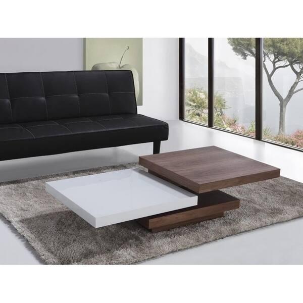 Shop Swivel Coffee Table Dark Wood And White Aveiro Overstock 18234692