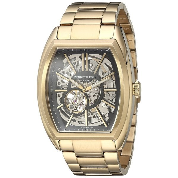404bef5d6f5 Kenneth Cole New York Men  x27 s Automatic Tonneau 10030813 Skeleton  Gold-tone