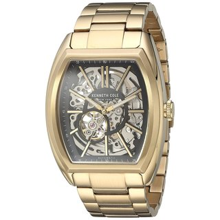 Kenneth Cole New York Men's Automatic Tonneau 10030813 Skeleton Gold-tone Watch