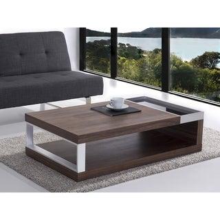 Beliani Faro Walnut Wood Veneer Rectangle Coffee Table
