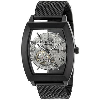 Kenneth Cole New York Men's Automatic Tonneau 10031270 Skeleton Black Mesh Stainless Steel Watch