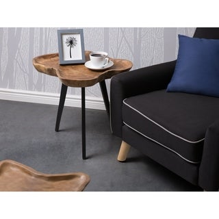 Beliani Elsa Stainless Steel Coffee Table With Natural-grain-finished Brown Teak Wood Tabletop