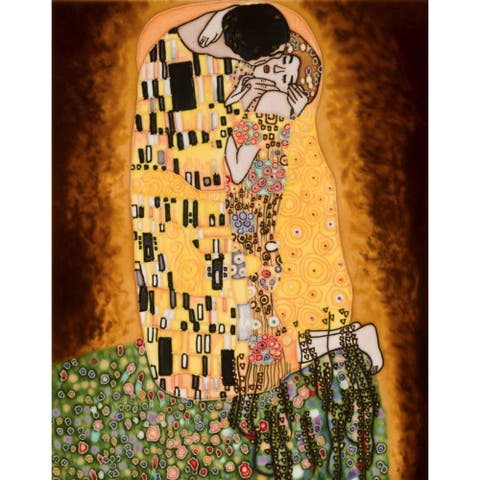 Gustav Klimt 'The Kiss' (full view) Hand Painted Felt Backed Wall Accent Tile