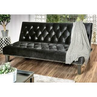 Furniture of America Yetsy Contemporary Glam Tufted Futon Sofa