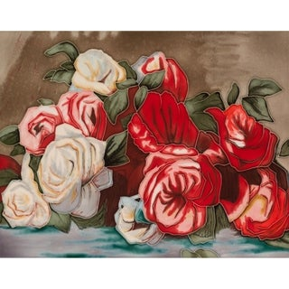 Pierre-Auguste Renoir 'Discarded Roses' Hand Painted Felt Backed Wall Accent Tile