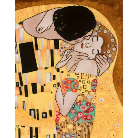 Gustav Klimt 'The Kiss' Hand Painted Felt Backed Wall Accent Tile