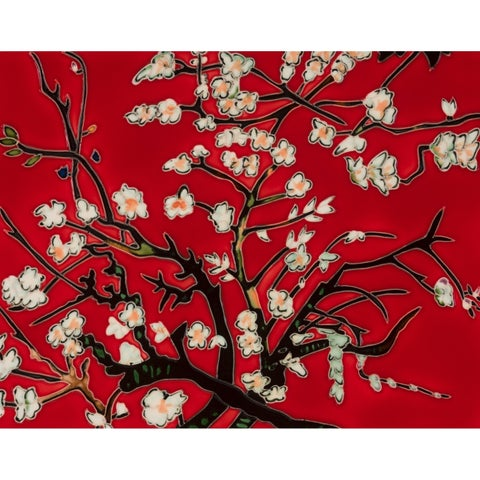 Vincent Van Gogh 'Branches Of An Almond Tree In Blossom, Red' Hand Painted Felt Backed Wall Accent Tile