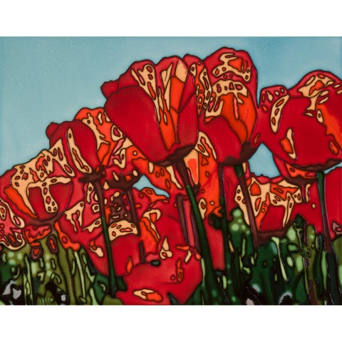 Steve Fryman 'The Tulip' Hand Painted Felt Backed Wall Accent Tile