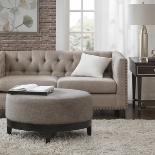 Madison Park Signature Bisbee Taupe/Black Fabric Upholstery Wood Round Ottoman
