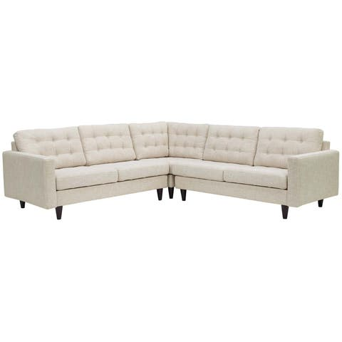 Empress 3 Piece Upholstered Fabric Sectional Sofa Set