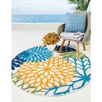 Nourison Aloha Multicolor Indoor/Outdoor Area Rug (5'3 X Round )