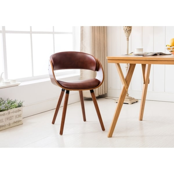 Porthos Homes Dining Chair With PVC Upholstery, Wooden Legs, Arm ...