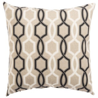 Indoor/ Outdoor Catriona Trellis Beige/ Black 18-inch Throw Pillow