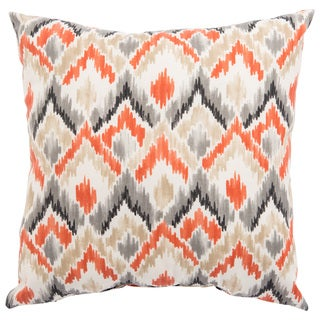 Indoor/ Outdoor Nico Ikat Orange/ Gray 20-inch Throw Pillow