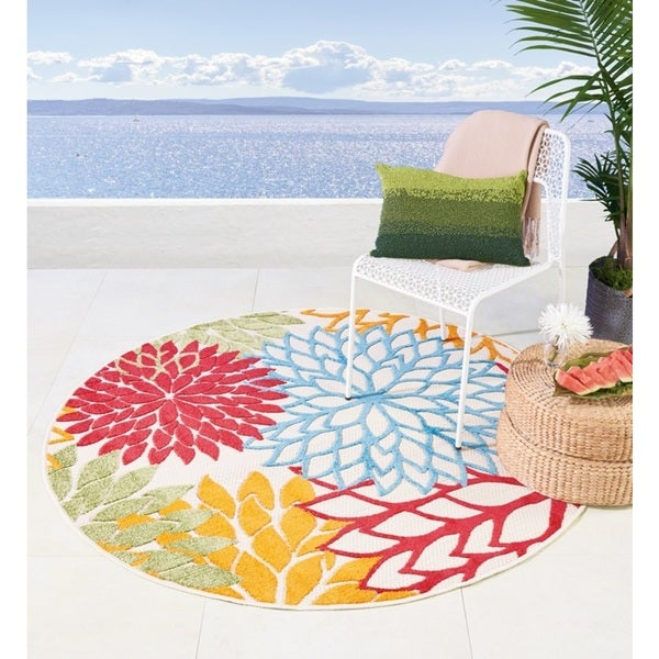 Nourison Aloha Green Indoor/Outdoor Area Rug (5'3 X Round )