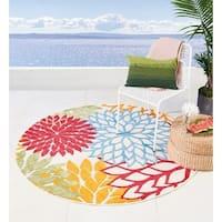 Nourison Aloha Floral Green Indoor/Outdoor Round Rug - 5'3