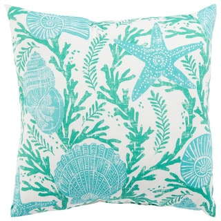 Indoor/ Outdoor Maren Floral Aqua/ White 18-inch Throw Pillow
