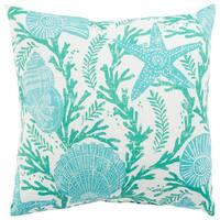 Indoor/ Outdoor Maren Floral Aqua/ White 18-inch Throw Pillow