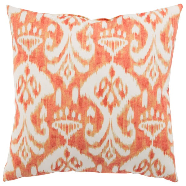 Shop Indoor Outdoor Mekong Ikat Orange White 18 Inch Throw Pillow