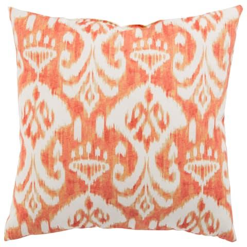 Indoor/ Outdoor Mekong Ikat Orange/ White 18-inch Throw Pillow