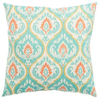 Indoor/ Outdoor Melita Medallion Turquoise/ Orange 20-inch Throw Pillow
