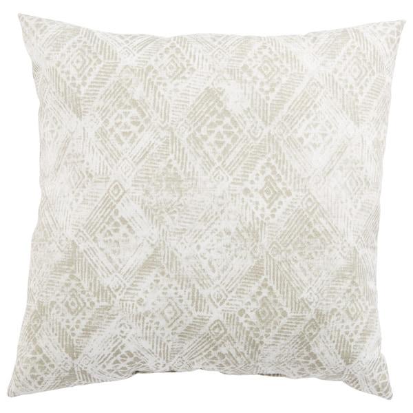 Indoor/ Outdoor Anya Ikat White/ Gray 18-inch Throw Pillow
