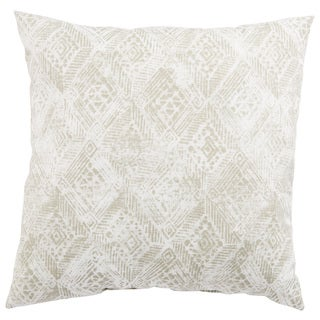 Indoor/ Outdoor Anya Ikat White/ Gray 18-inch Throw Pillow