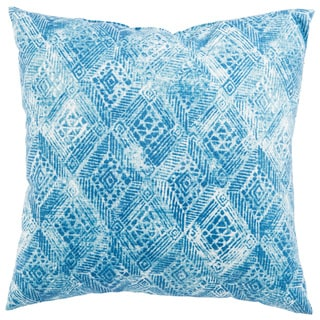 Indoor/ Outdoor Anya Ikat White/ Blue 18-inch Throw Pillow
