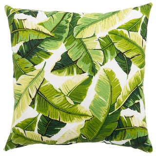 Indoor/ Outdoor Toliara Indoor/ Outdoor Floral White/ Green 18-inch Throw Pillow