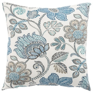 Indoor/ Outdoor Tania Floral White/ Blue 18-inch Throw Pillow